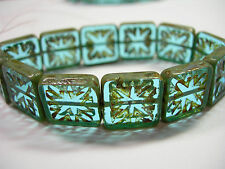12 14mm Etched Aqua Blend Picasso Czech Glass Square Window Beads