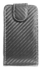 4-OK Klap Flip Tasche Hülle Case Etui Carbon Schwarz für BlackBerry CURVE 8520