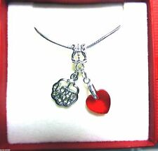 I LOVE YOU & Red Crystal Heart Necklace in Gift Box Romantic Valentine Gift