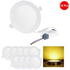 10 Pcs 12W Round Recessed Led Panel Light Ceiling Downlight Warm White Bulb Lamp