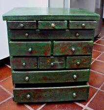 Old Antique Decorative Small Dresser Cupboard Cabinet Dark Green Patina Paint