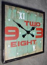 Wanduhr Küchenuhr Uhr QUADRAT Vintage Shabby Landhaus 45 x 45 cm LV ZAHLEN GRÜN