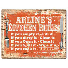 PPKR0892 ARLINE'S KITCHEN RULES Chic Sign Funny Kitchen Decor Birthday Gift