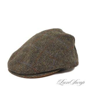 NWT Goorin Brothers Made in USA Olive Harris Tweed Windowpane Suede Brim Hat M