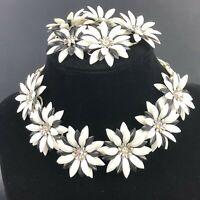 Vintage Rhinestone Necklace Bracelet Set FIGURAL FLOWER Black & White Retro FAB!