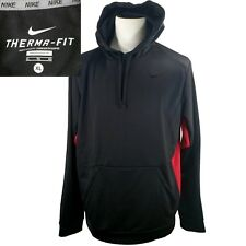 Nike~New~Men's XL~Therma Fit Pullover Hoodie~Black Red~Mesh Lined Hood~Polyester