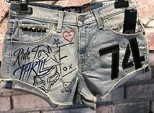 FOX RACING WOMEN'S PIN UP DENIM JEANS SHORTS __  Size 9/30 Jrs NWTs