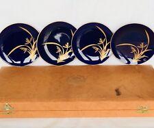 Set of 4 Koransha Sushi Plates Porcelain Floral Japanese Vintage Original Box