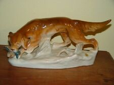 "Bird Dog with Pheasant Royal Dux Czech Porcelain Figurine 15"" x 7"""