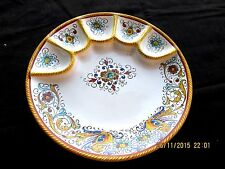 """GRAZIA DERUTA RAFFAELESCO HAND PAINTED ITALY 10"""" OYSTER EGG HORS D'OEUVRES PLATE"""