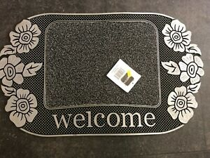 Welcome with flowers quality door mat