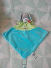 Doudou chien gris bleu vert pois chat écharpe orange mots d'enfants