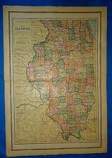 Vintage 1916 Atlas Map ~ ILLINOIS ~ Old & Original ~ Free S&H
