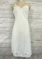 Vintage Vanity Fair Full Slip Chemise White Lace 100% Cotton Size 36 Bust