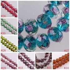 P&F 10pcs Faceted Lampwork Glass Charms Rose Flower Finding Loose Bead 12x8mm