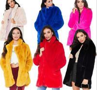 Womens Faux Fur Coat Mid Long Jacket Parka Thicken Casual Overcoat Outwear