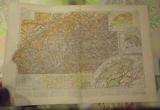 1900 Original Vintage Map Vidal-Lablache Suisse Zurich Berne Col du Simplon
