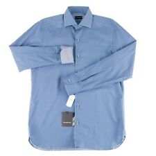 ERMENEGILDO ZEGNA Blue Scales Slim Fit Cotton Dress Shirt M 15 1/2  NWT $375