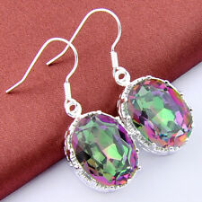 48Cts Xmas Gift Rainbow Shiny Fire Mystic Topaz Gems Oval Dangle Hook Earrings