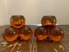 Vintage Westmoreland Ball Amber Glass Candle Holder A Pair
