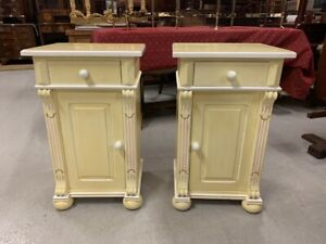 A Pair of Good Quality French Style Painted Pine Pot Cupboards/ Bedside Tables