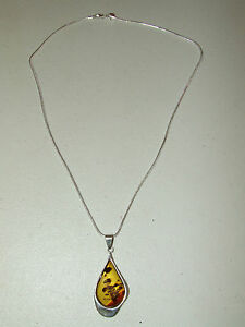 Vintage Danish Mid Century Sterling Silver & Baltic Amber Necklace & Pendant
