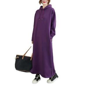 Fall Winter Women's Hooded Maxi Dress Hoodie Overknee Thick Warm Straight Robe B