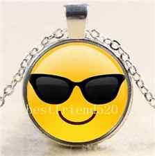 Sunglasses Cool Emoji Cabochon Glass Tibet Silver Chain Pendant  Necklace