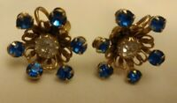 "Vintage Blue Clear Glass Stone Screw back Earrings with Gold Tone 1"" unmarked"