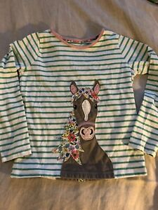 Mini Boden 7-8 Girls Green White Stripe Applique Horse Long Sleeve T Tee Shirt