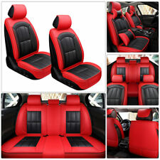 US Deluxe Red Top Leather Car Seat Covers Protector Cushion Universal 5-Seat Set