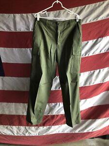 Vietnam Era Jungle Uniform Pants Green Medium Regular Trousers 1969 OG107 Poplin