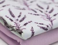 Watercolour Lilac Purple Lavender Floral Cotton Elastin Jersey Per Half METRE