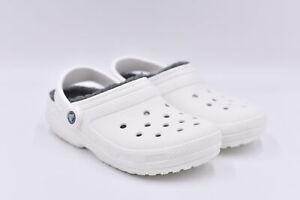 Women's Crocs Classic Lined Slip On Clogs, White / Grey, 7
