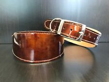 Leather Dog Collar LINED Greyhound Lurcher Whippet Saluki TAN HIGH GLOSS