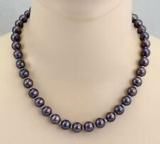 Perlenkette - dunkelgraue Süßwasser-Perlen Halskette 10 mm rund in 49 cm Länge