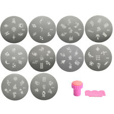 Nail Printing Steel Plate Stamp Set 10 Plates + 1set of Pink Seal Diameter 5.5cm