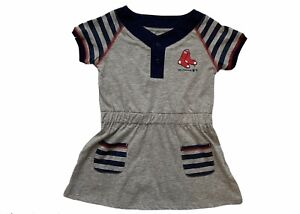 MLB Boston Red Sox Toddler Girts Dress Sz 3T Gray Short Sleeve