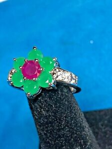 Emerald & Ruby Synthetic gems RING 2 Carat size 7 Set in .925 Sterling Silver