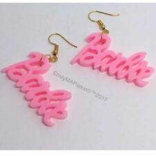 Candy Floss Pink Geek Barbie Earrings Pastel Plastic Resin Silver Hooks G051 6c