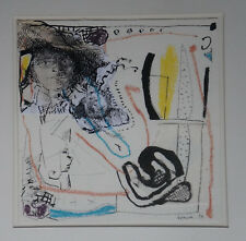 "MONIQUE LEPEUVE (XXeme)  Encre/Collage  "" COMPOSITION ""  - SIgné"