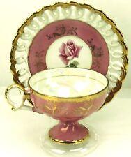 Vtg Norcrest Pink Roses Reticulated Footed Teacup & Saucer Japan