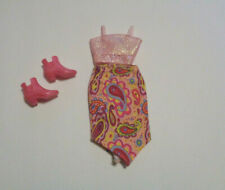 Modern Stacie Cute Colorful Paisley Midi Skirt Matching Top Short Boots EUC #11
