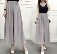 Women Chiffon Pleated Wide Leg Crop Trousers High Waist Palazzo Culotte Pants