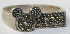 VTG JUDITH JACK & DISNEY STERLING SILVER MARCASITE MICKEY MOUSE RING SIZE 7.25