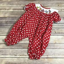 Babeeni Smocked Romper Red White Circus Polka Dot 6 mo New NWT Cotton