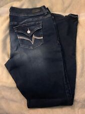 VANITY Womens Stretch CURVY Bootcut Blue Jeans / Denim Size 32