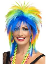 Multi-coloured 80's Rainbow Punk Wig Adult Womens Smiffys Fancy Dress Costume