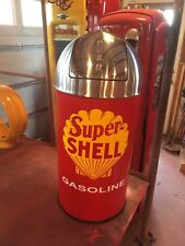 Vintage Style SUPER SHELL GASOLINE Trash Can SS Top Gas Pump Station