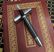 Fountain Pen Custom Flex Nib Black Ink Fine (Classic Stripe Stainless) w/Spares